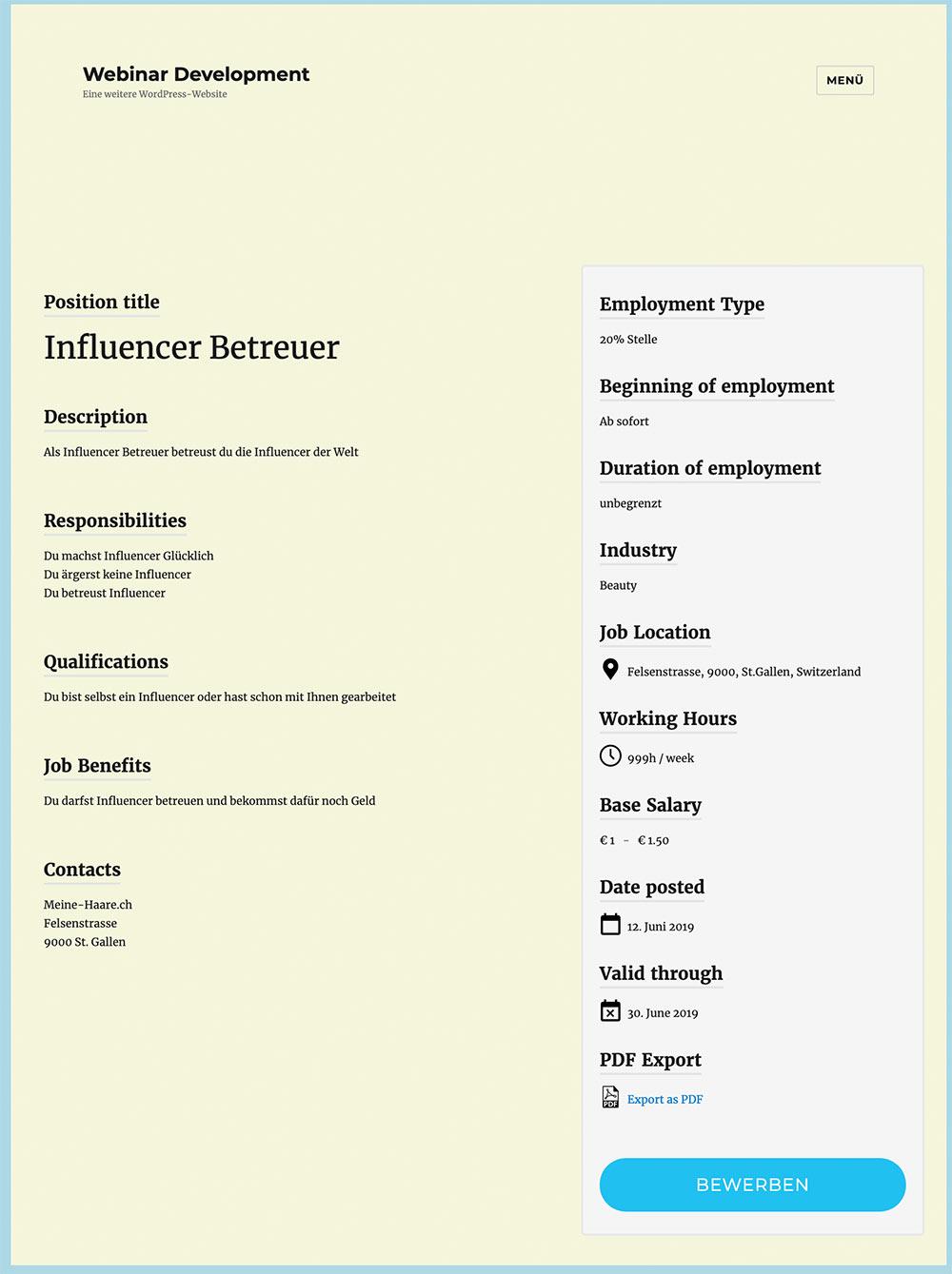 wordpress plugin blueglass jobs for google 5 - Für Google optimierte Stelleninserate veröffentlichen