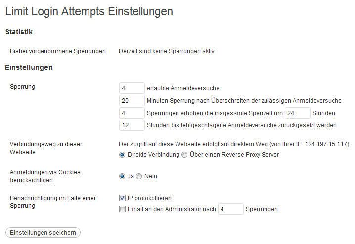 Standard Installation von WordPress Plugin Limit Login Attempts