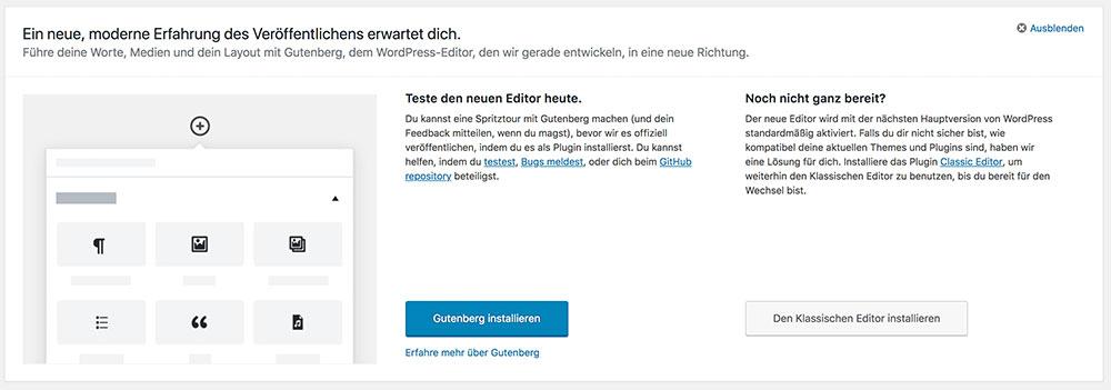 wordpress update 498 gutenberg 1 - WordPress 4.9.8 veröffentlicht - Gutenberg ist da