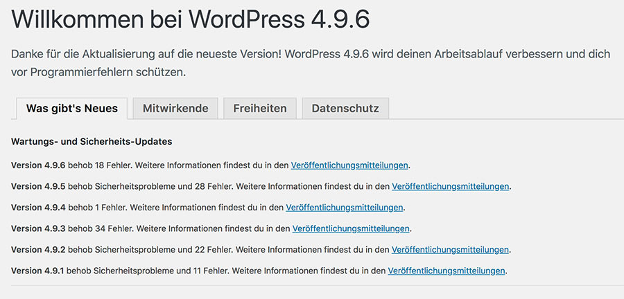 wordpress version 496 1 - Die DSGVO WordPress Version 4.9.6 ist da