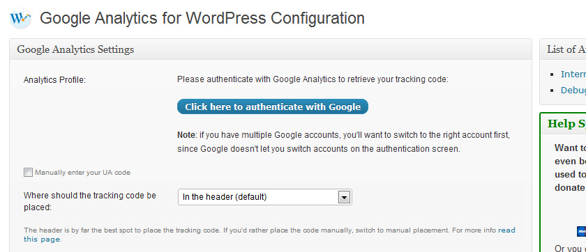 wp google analytics for wordpress - WordPress Plugin: Google Analytics for WordPress