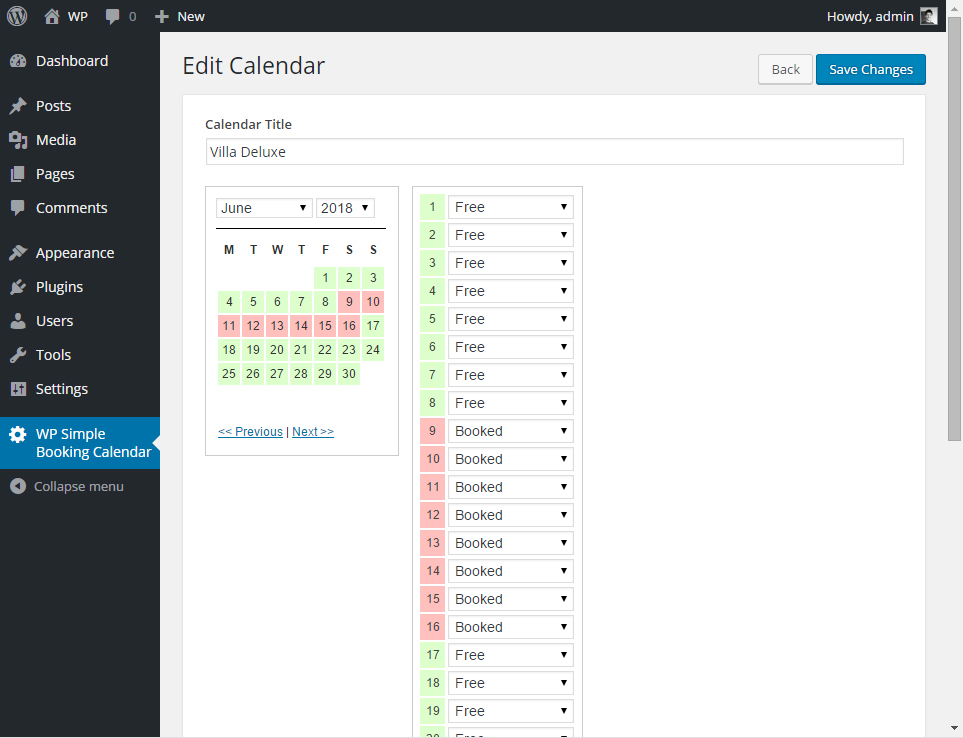 wp simple booking calendar plugin 2 - Einfachstes Buchungsplugin für WordPress mit WP Simple Booking Calendar