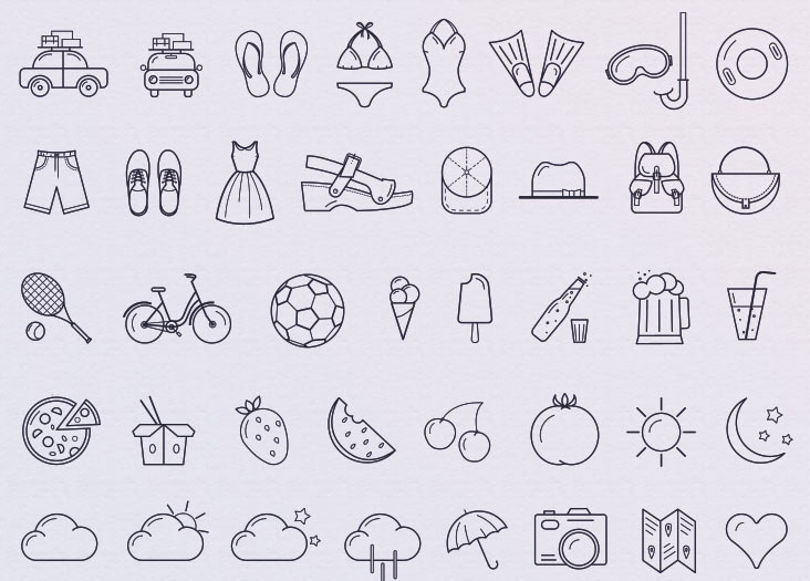 wp summer icon set - 40 gratis Sommer Icons
