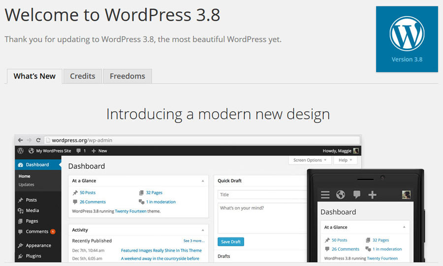 Features WordPress 3.8