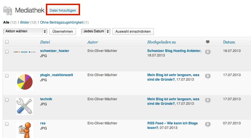 WordPress Bilder Management