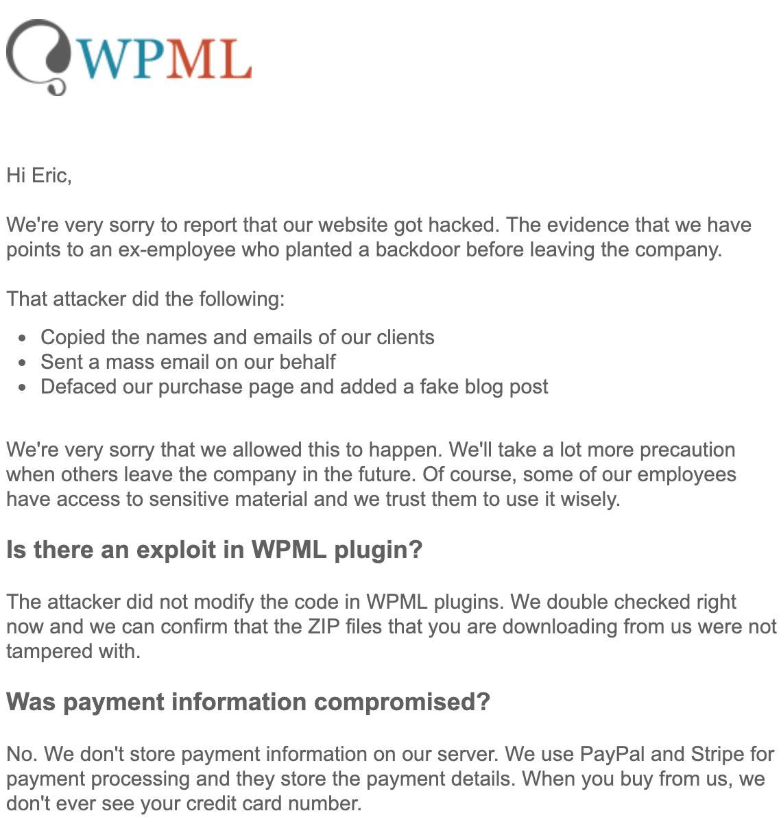 wpml amir response stellungnahme 1 - WPML hat auf den Hack reagiert und folgende Stellungnahme veröffentlicht