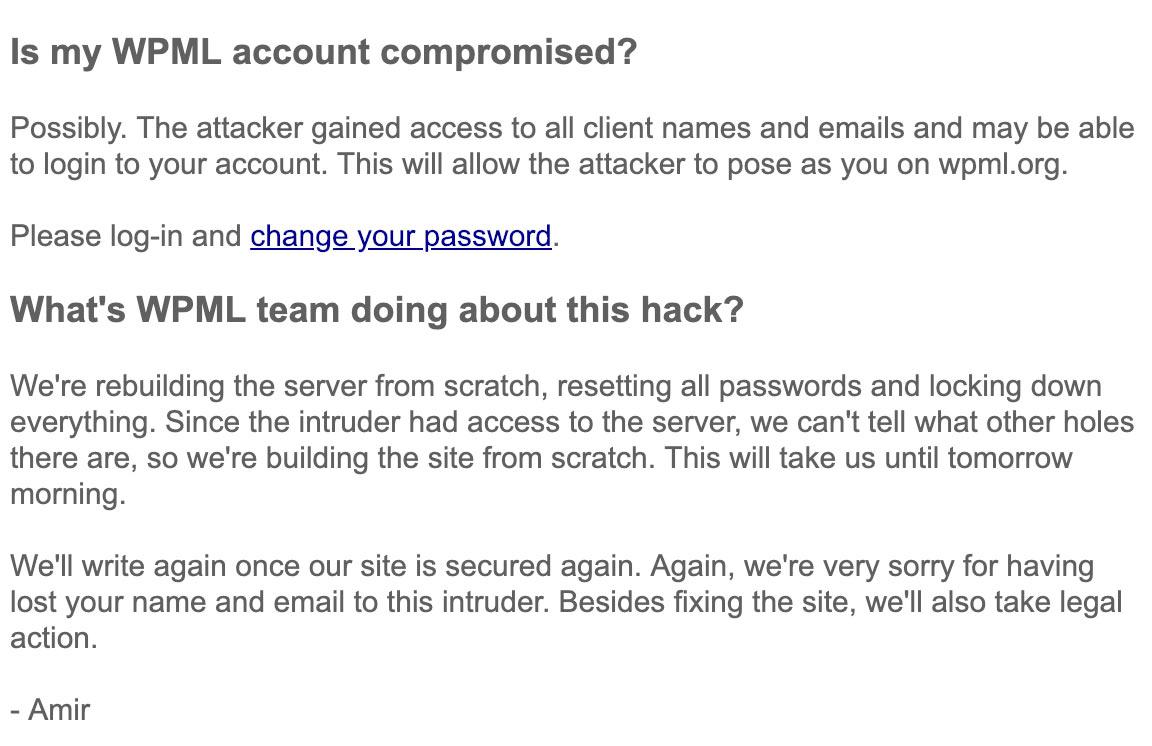 wpml amir response stellungnahme 2 - WPML hat auf den Hack reagiert und folgende Stellungnahme veröffentlicht