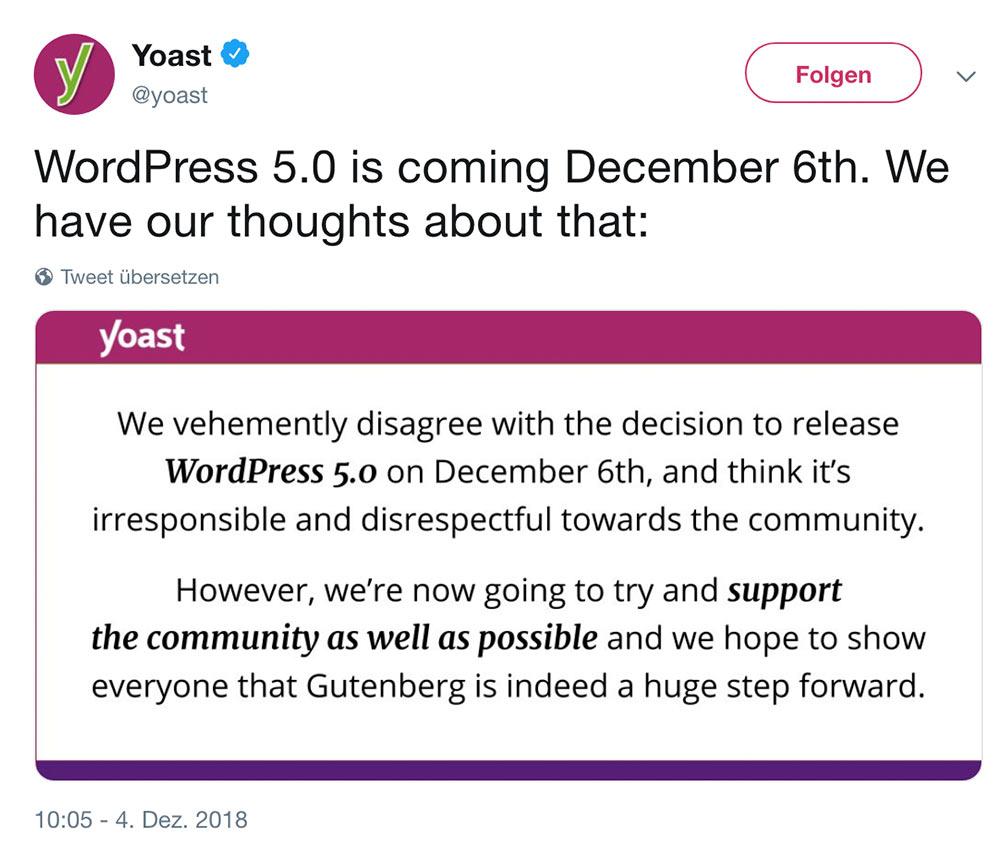 yoast gegen gutenberg - Yoast und WPML sind gegen Gutenberg und haben eine klare Meinung dazu