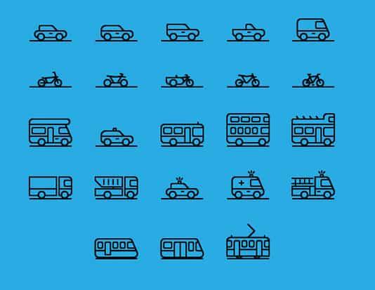 Über 70 Auto und Verkehr Icons für Fahrlehrer und Öffentlicher Verkehr