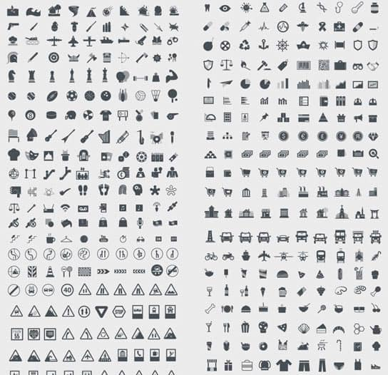 1000 Gratis Icons in einem Set