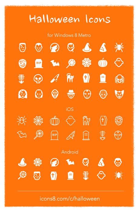 halloween collection - 40 geniale Social Media Icons im Flat Design mit grossem Schattenwurf