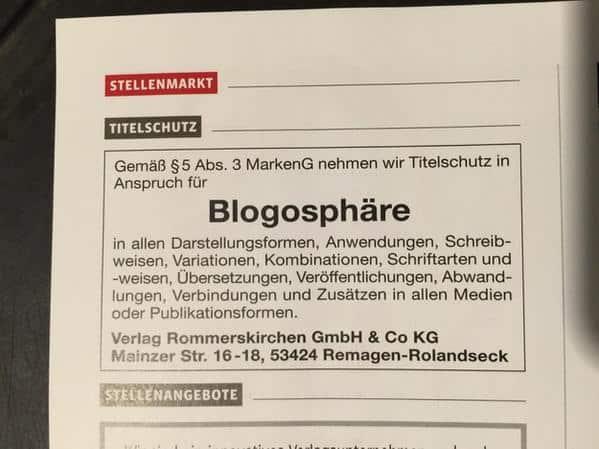 blogosphaere - Titelschutz für das Wort Blogosphäre ! Bald muss man für das Wort zahlen