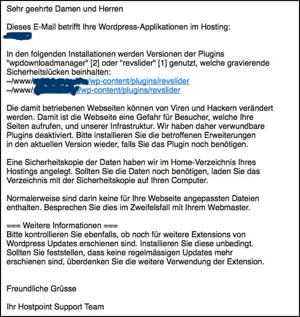 Hostpoint verschickt eMail: Unsichere WordPress Installation (SoakSoak Warnung)