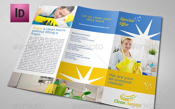 mockup Cleaning Services Company Brochure Tri Fo - 9 hübsche Flyer & Broschüre Templates