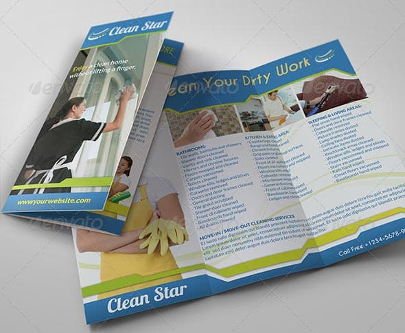 mockup Cleaning Services Tri Fold Brochure - 9 hübsche Flyer & Broschüre Templates