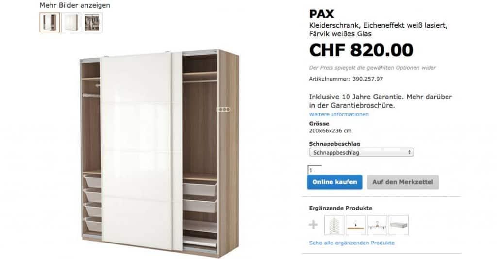 ikea ch pax 1024x534 - eCommerce der Euro Franken Kurs und die verpassten Chancen