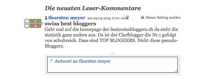 schweizer blogger 4 - Blogger bei 20min heute grosses Thema