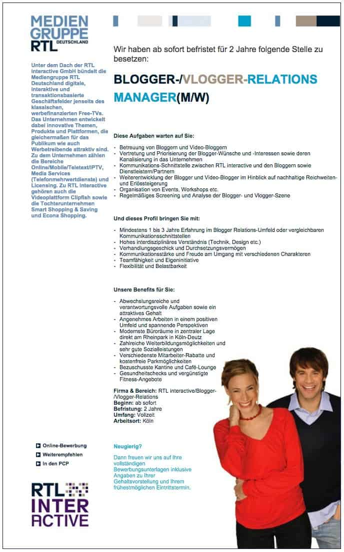 mediengruppe rtl blogger vlogger relations manager job stellenbeschreibung - RTL sucht eine(n) Blogger-/ Vlogger- Relations Manager (M/W)