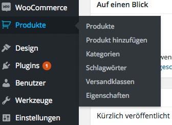 wordpress woocommerce anleitung produkt menu - WooCommerce Anleitung: Wo legt man ein neues Produkt an