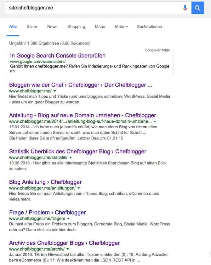 chefblogger site suche google - Wie trage ich meine Webseite bei Google ein