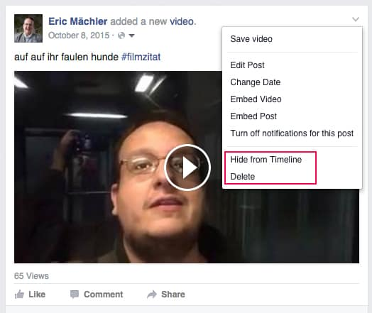 facebook delete hide single post - Anleitung: Wie entferne ich Inhalte von der Facebook Chronik