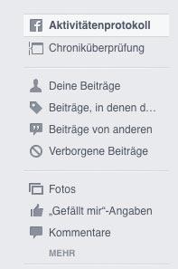 facebook menu activity log - Anleitung: Wie entferne ich Inhalte von der Facebook Chronik