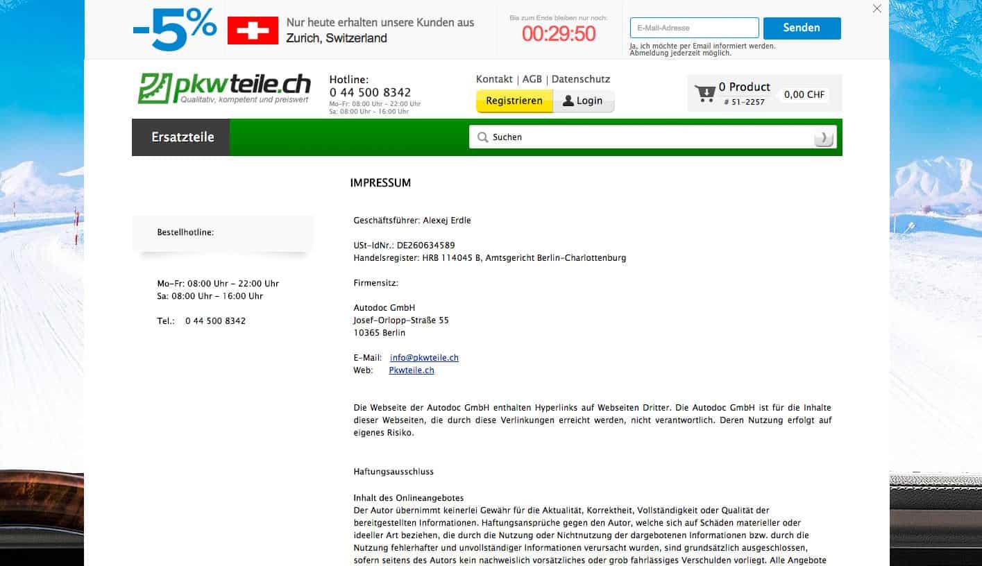 screenshot pkwteile ecommerce online shop schweiz impressum - Achtung Abzocke beim eCommerce