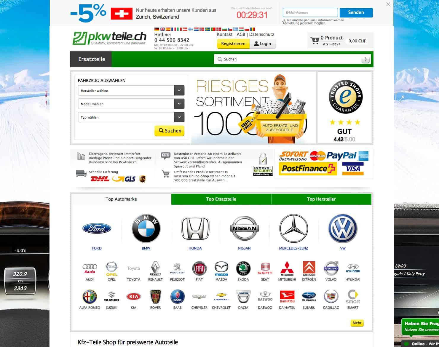 screenshot pkwteile ecommerce online shop schweiz startseite - Achtung Abzocke beim eCommerce
