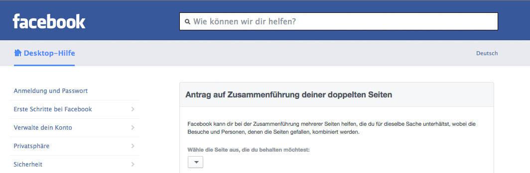 facebook fanpage seite zusammenfuehren formular - Facebook: Wie kann ich 2 Fanpages zusammenführen
