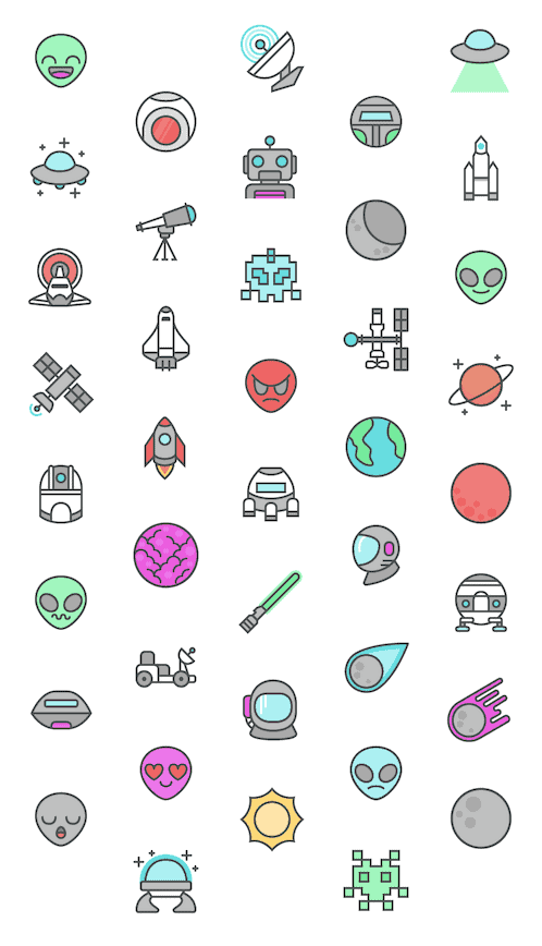 space icons preview - Space Weltraum Icon