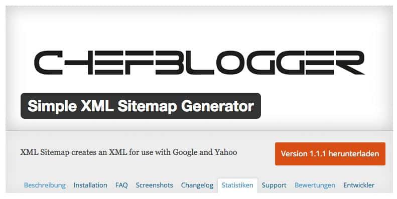 chefblogger simple xml sitemap generator 1 1 1 - +400 aktive Sitemap Plugin Installationen