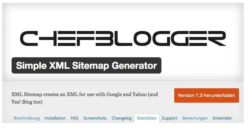 chefblogger simple xml sitemap generator 1 3 - +400 aktive Sitemap Plugin Installationen