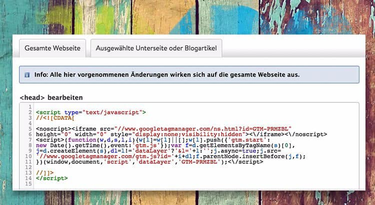 google tag manager jimdo trick77 - Jimdo - Wie baut man den Google Tag Manager ein