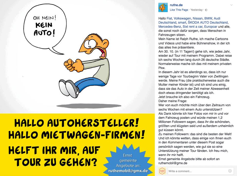 auto ruthemobil facebook - Social Media und das Internet sind gar nicht so BÖSE wie immer alle denken!