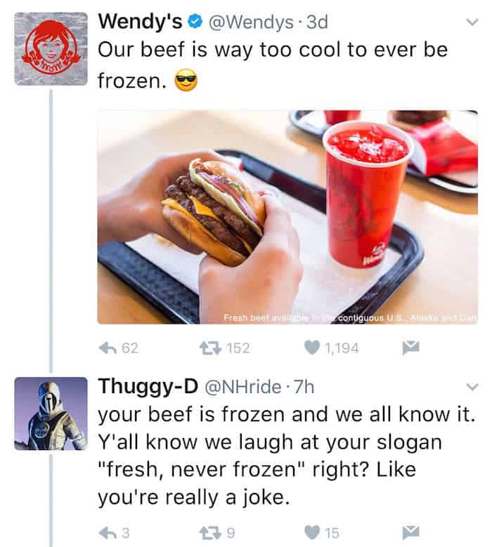 wendys troll socialmedia reaktion 1 - Geniales Beispiel wie man mit Trollen im Internet umgehen soll