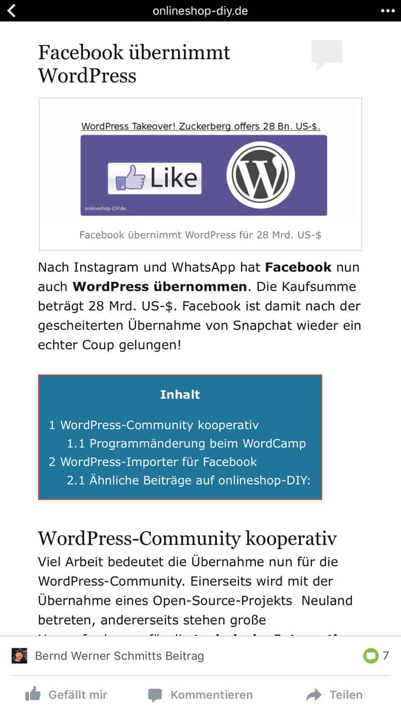 facebook kauft wordpress 1april2017 - Facebook hat WordPress gekauft