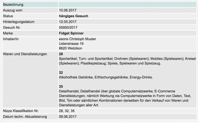 markeneintrag fidget spinner 10juni2017 - Aufregung im Schweizer Online Handel wegen Fidget Spinner