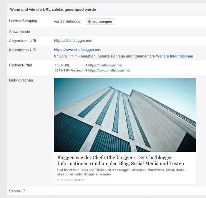 facebook reindex 2 - Wie man eine Webseite bei Facebook reindexieren lassen kann.