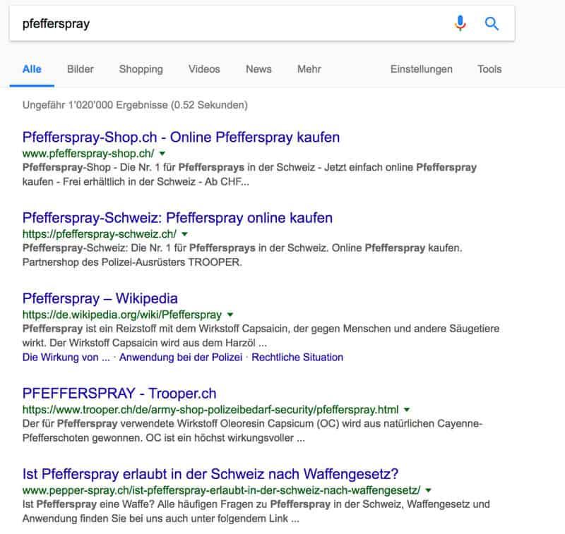 adwords pfefferspray - Die Allmacht von Adwords und andere Grosskonzerne