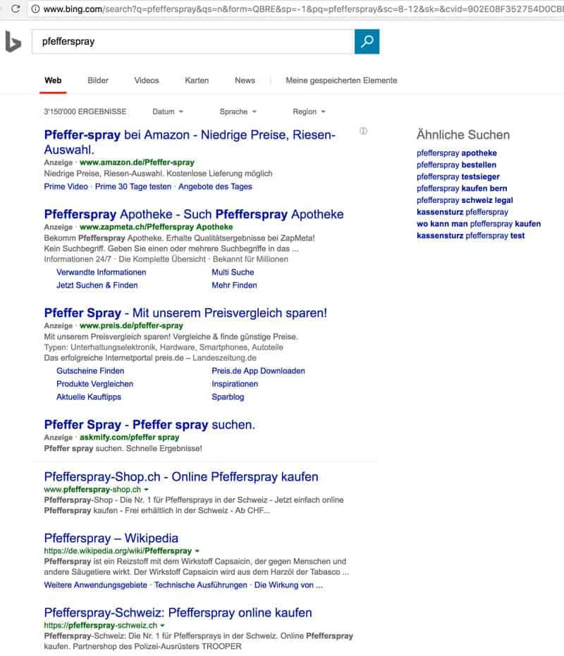 bing pfefferspray - Die Allmacht von Adwords und andere Grosskonzerne