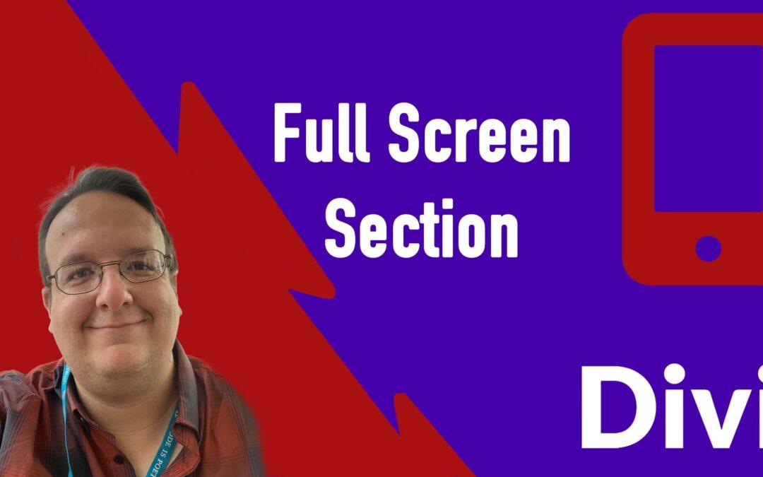 Divi Anleitung: Wie erstell ich eine Full Screen Sektion auf einer Webseite