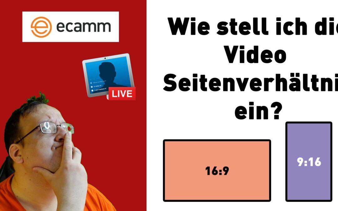Ecamm Live: Videoaufnahme in Grössenverhältnis 16:9 oder 9:16 oder 1:1 oder 2:1 oder 4:3